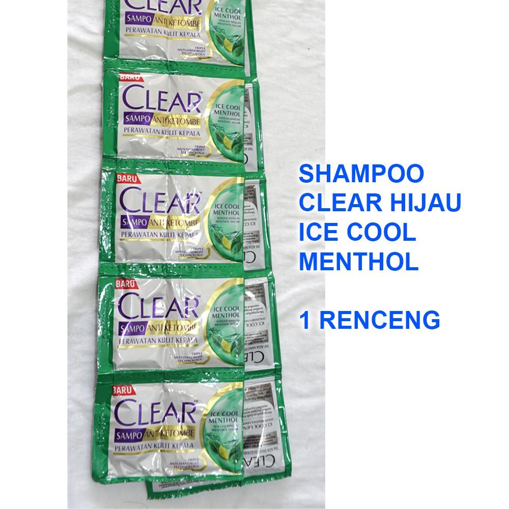 Shampoo CLEAR HIJAU ICE COOL MENTHOL 1 Renceng 2x12 Sachet @5ml-2