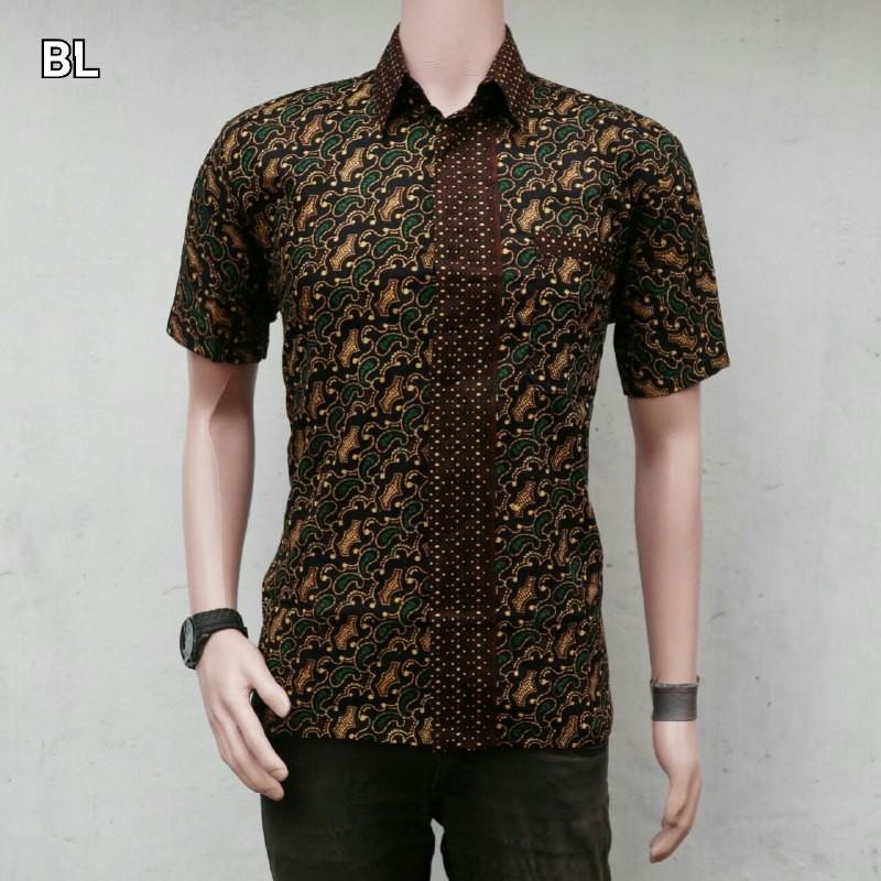 BATIKRANTIWI   Kemeja Batik Pria Lengan Pendek motif Mete Hijau