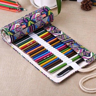 Vip72 Holes Canvas Wrap Roll Up Pencil Case Pen Bag Holder Handmade Storage Pouch