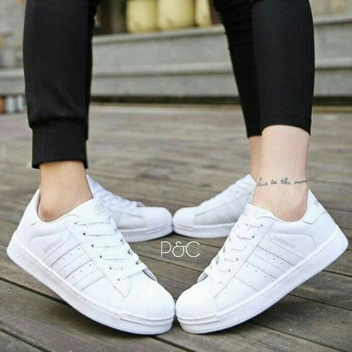 Sepatu Kets Sneaker Adidas Putih Full Cewek Wanita Pria Jogging