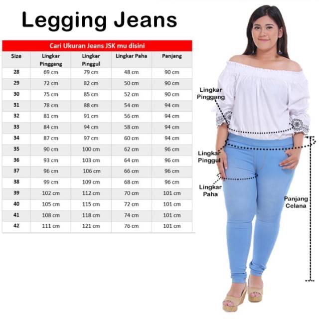 Size 28 42 Celana Legging Jeans Wanita Jegging Wanita Jumbo Big Size Shopee Indonesia