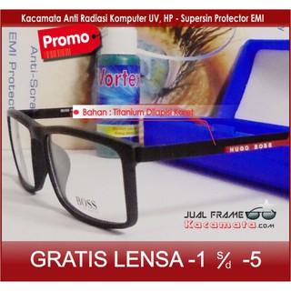 Frame Kacamata - Lensa Minus Baca Antiradiasi Komputer Uv - Sporty Korea Pria  Wanita Cewek Kotak 7038710486
