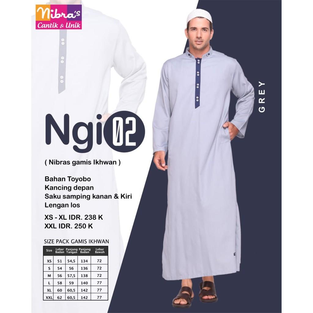 Model Trendi Gamis Pria Terbaru Nibras NGI 12 Grey ORIGINAL Model Baju  Muslim Gamis Pria