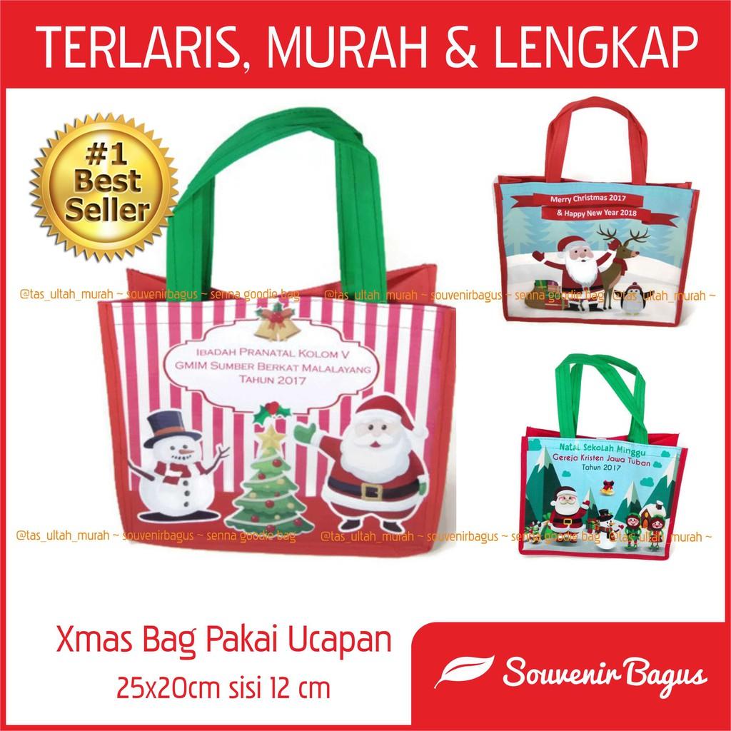 Termurah Tas Natal Pakai Ucapan Tas Sekolah Minggu Custom Murah Goodie Bag Christmas Xmas Shopee Indonesia