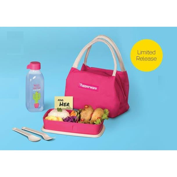 kotak makan/ New Fancy Crystalwave Lunch Set CWL I Tupperware I Pink | Shopee Indonesia