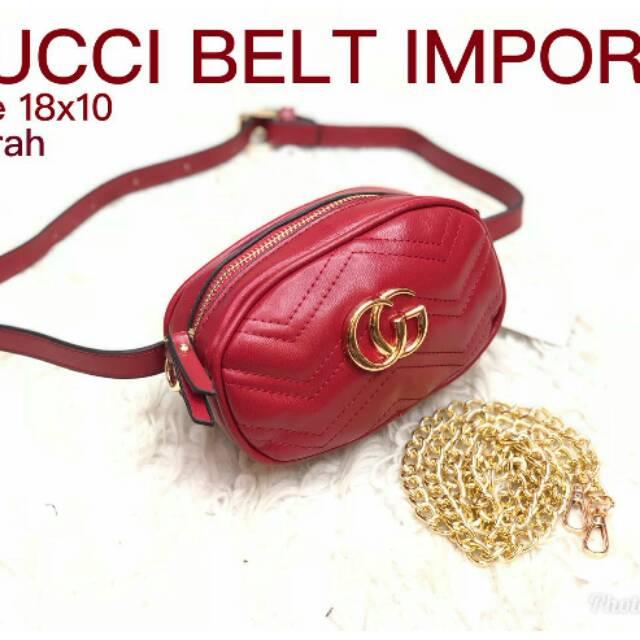 Tas Wanita Tas Pinggang Waistbag Tas Gucci Belt Nagita - Hitam ... f810c1d9d5