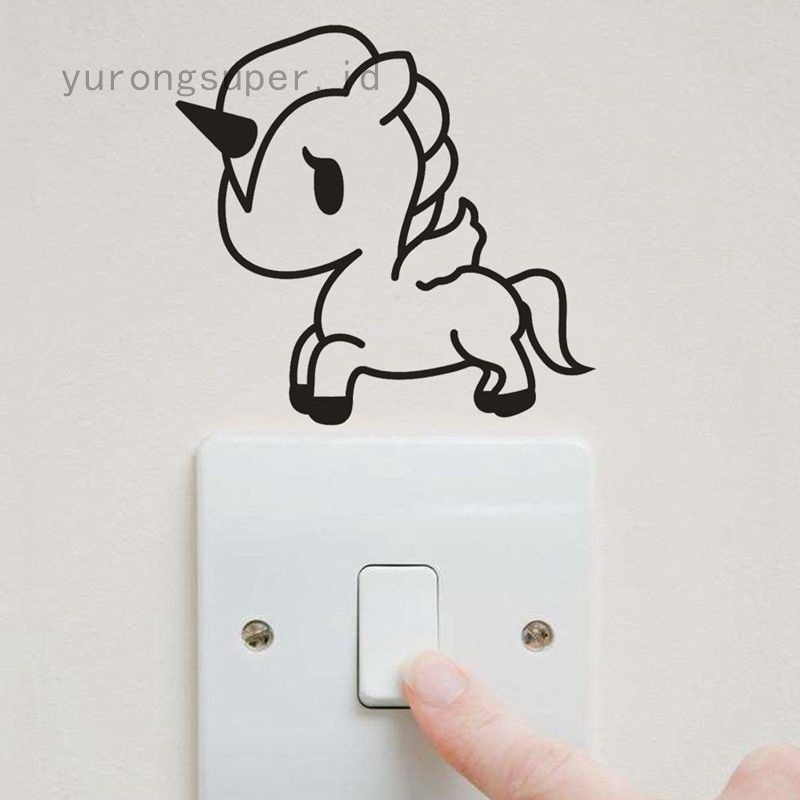 2pcs Patterned Unicorn Light Switch Wall Stickers Children Girls Bedroom Fun Shopee Indonesia