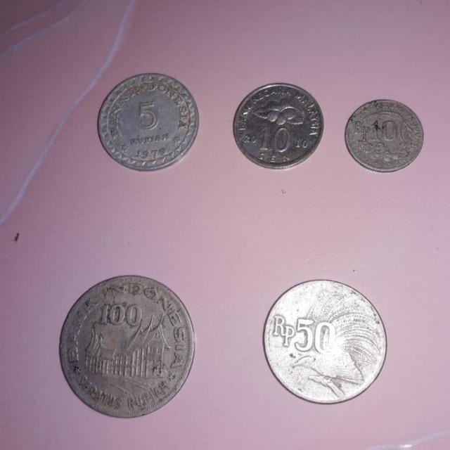 UANG KOIN LAMA 100 rupiah,50 rupiah cendeawasih,10 rupiah, 5rupiah