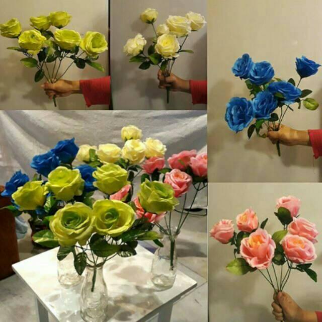 Bunga dekorasi vas pagar pot pagar shabby vintage shabby chic bunga mawar  plastik artificial  c1919f09eb