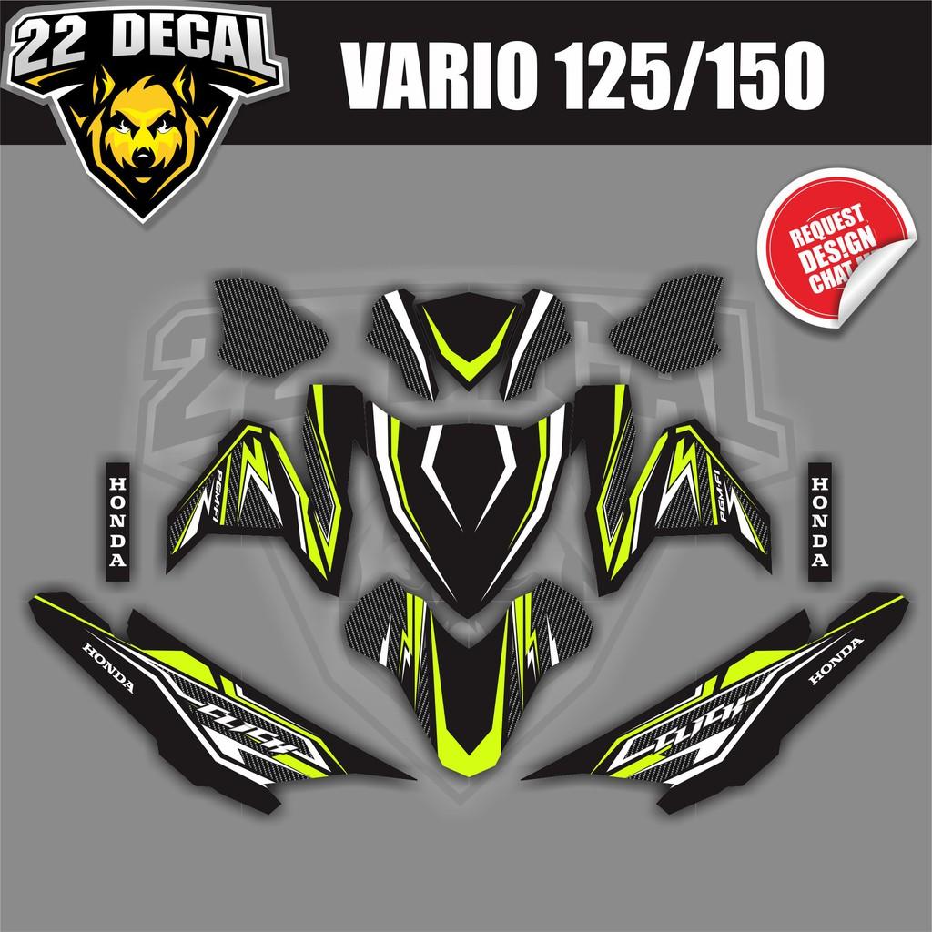 Decal sticker vario 125 150 hitam garis hijau stabilo full body bahan berkualitas shopee indonesia