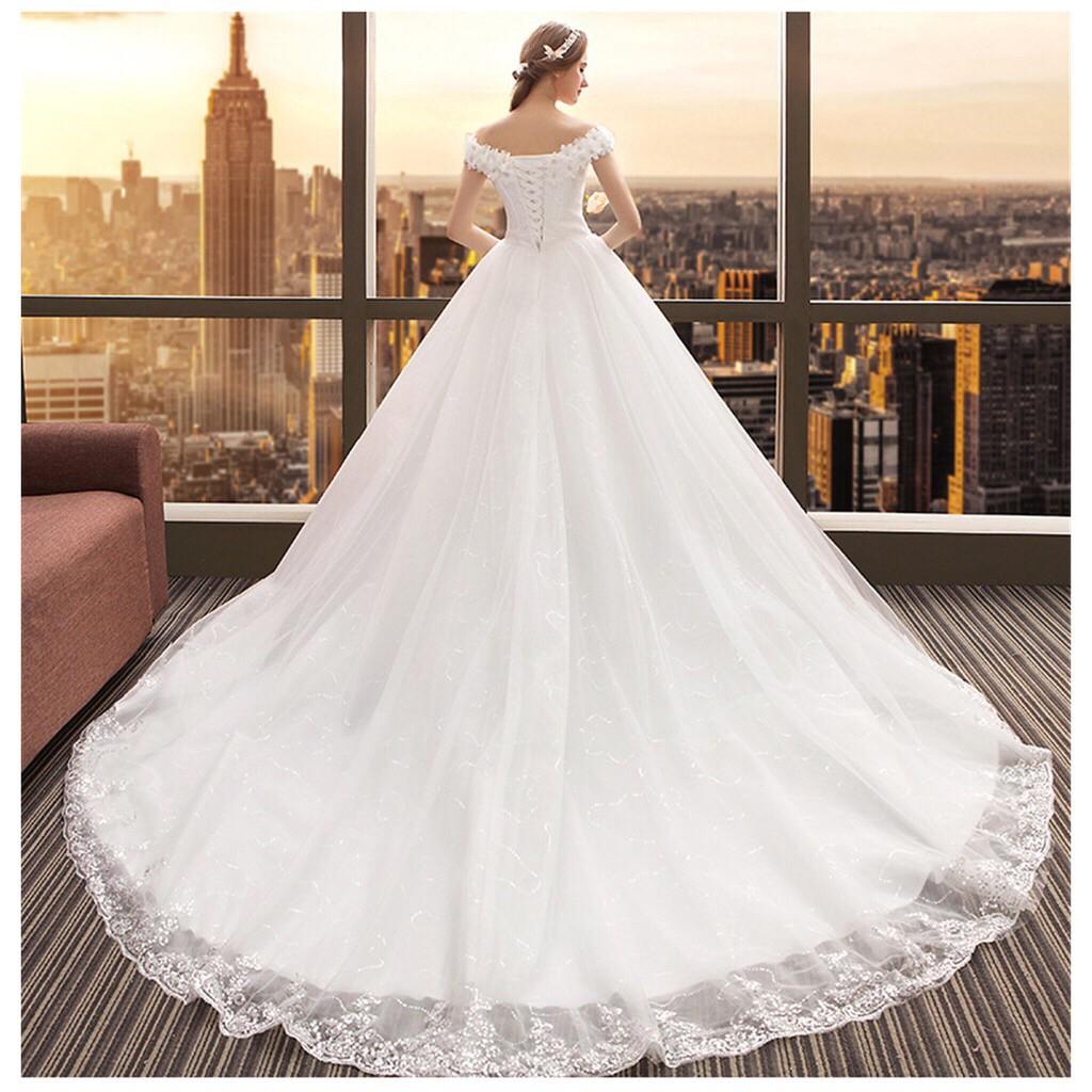 Gaun Pengantin Simple Sweet Large Size Lace Korean Wedding Dress Long Tail Wedding Dress Shopee Indonesia