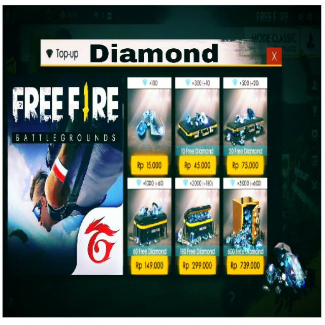 Top Up Diamond Free Fire Shopee Indonesia