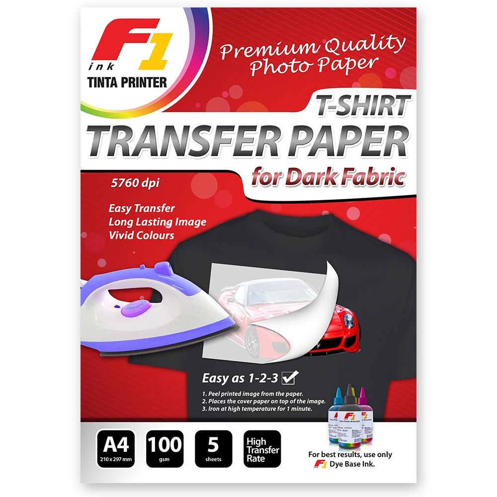 Kertas Sublim Sublimation Paper F1 Ink Isi 50sheetpacl 110gsm Transfer Dark Fabric A4 Untuk Cetak Kaos Warna Hitam Gelap Jaminan