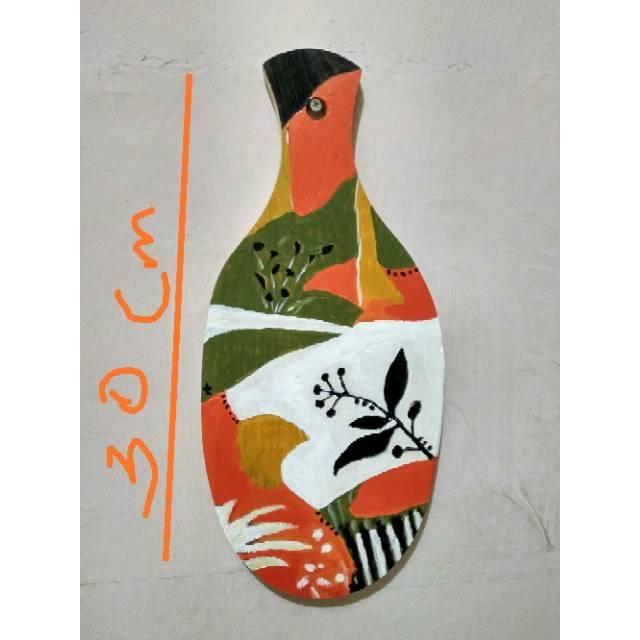 Lukisan Di Atas Talenan Kayu Hiasan Dinding Shopee Indonesia