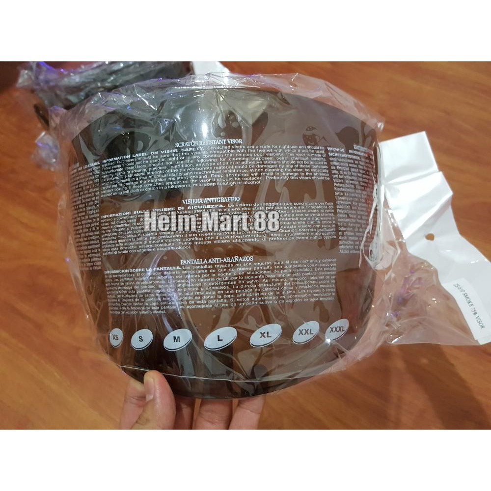 Visor Helm Njs Shadow Fullface Clear Kaca Bening Ori Flat Smoke Shopee Indonesia