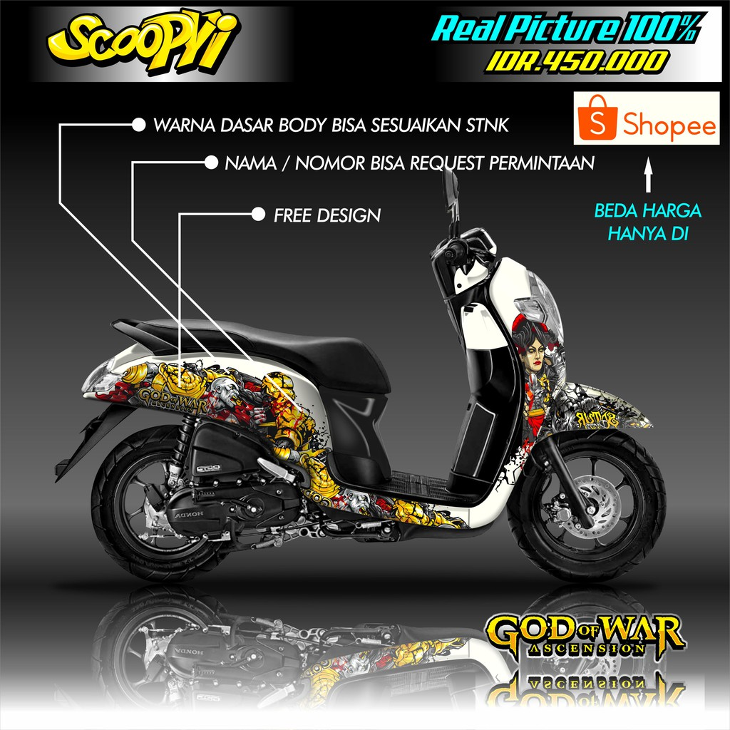 Decal Honda Scoopy Free Design Terbaru 2020 Kekinian Shopee Indonesia