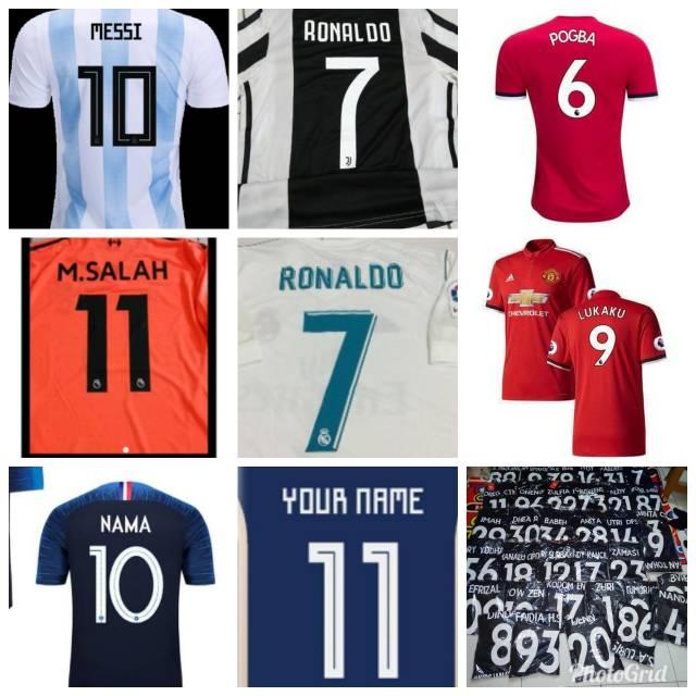Biaya Tambah sablon nama dan nomor Sablon jersey grade ori pasang nameset jersey 2018 2019 terbaru