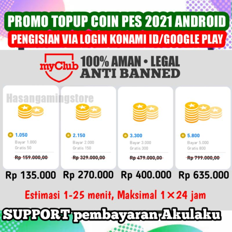 KOIN PES 2021 ANDROID - TOPUP COIN PES - COIN PES MURAH - PES 2021 MOBILE