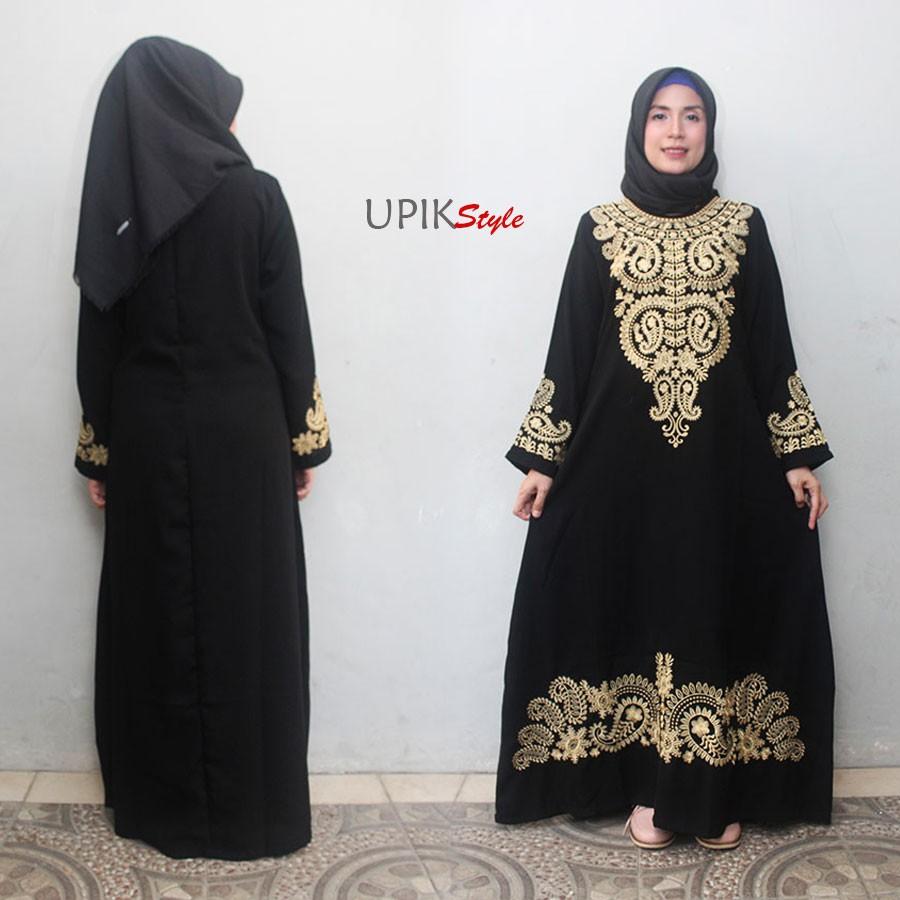 Hq Abaya Model Saudi Gamis Hitam Bordir Baju Pesta Busana Muslim Layla Phasmina Muslimah Ainun Style Shopee Indonesia