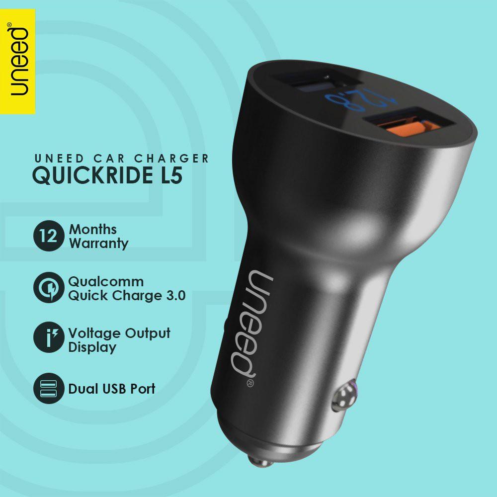 Uneed Car Charger Quickride L5 With Qualcomm Quick Charge 30 Switch Auto Disconnect Kabel Data Micro Usb Qc Ucb21m Blue Ucch05 Shopee Indonesia