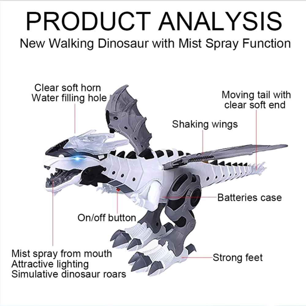 Digital Dinosaur Dragon Wing Light Sound Walking Battery Operated Toy