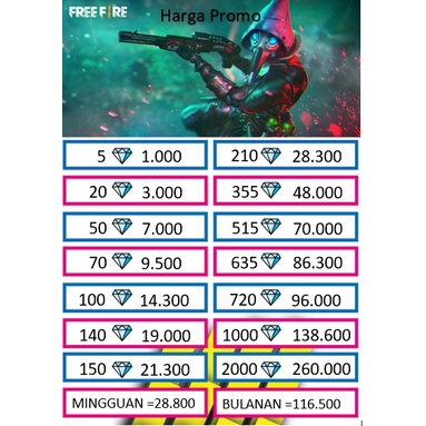 TOP UP DIAMOND FREE FIRE / FF / FREEFIRE MURAH TERMURAH AMAN, CEPAT 100% #5-20 DIAMON