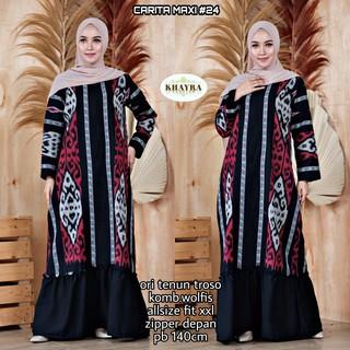 Gamis Tenun Carita Maxi By Khayra Shopee Indonesia