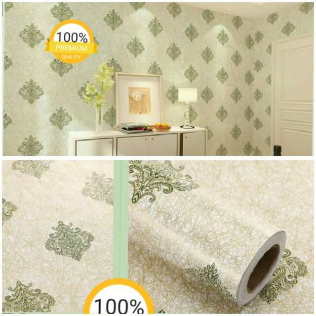 Wallpaper Dinding Desain Sendiri  grosir wallpaper sticker dinding kamar termurah motif batik hijau gold elegan desain mewah