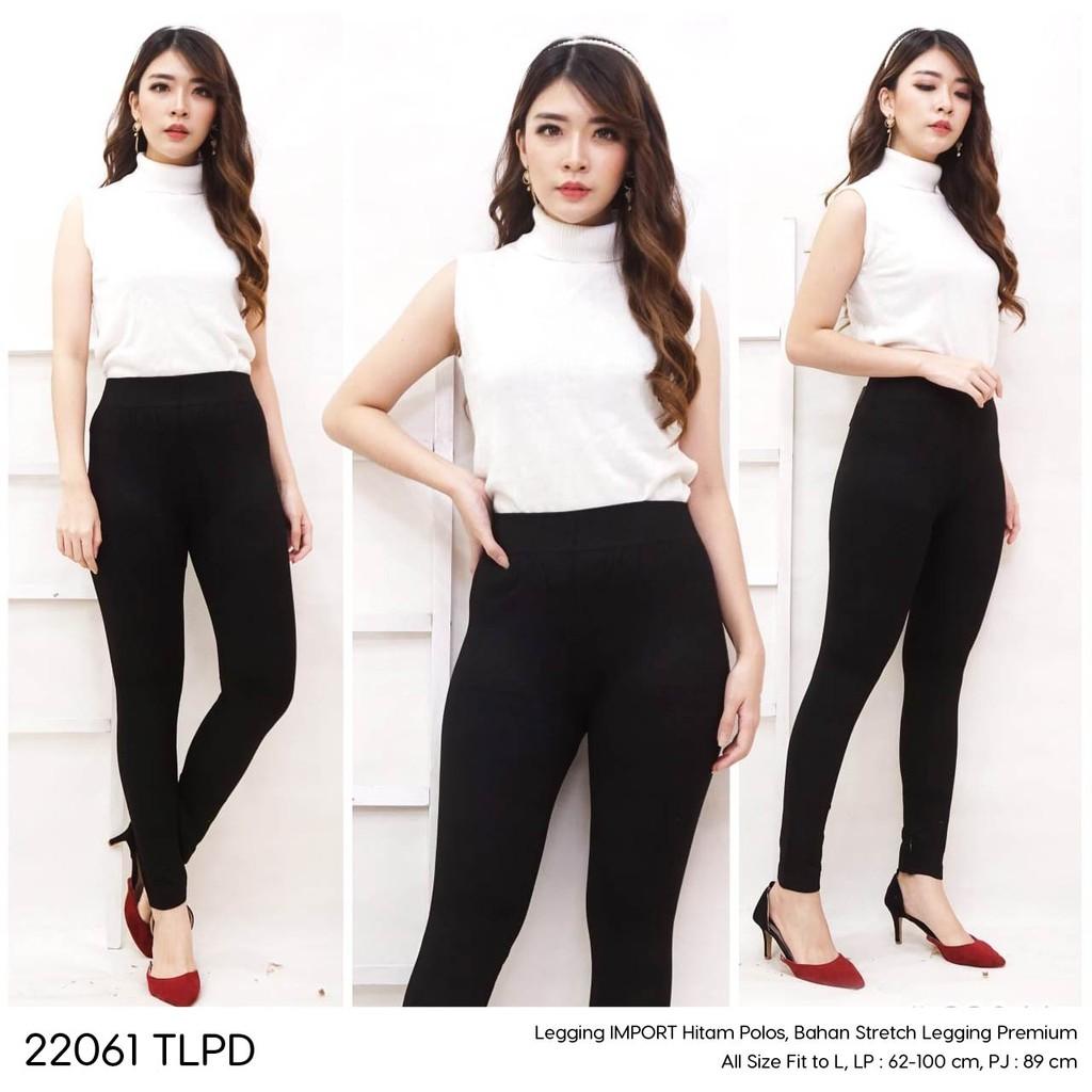 Celana Legging Panjang Wanita Import Premium Bawahan Olahraga Outdoor Warna Hitam Polos Shopee Indonesia