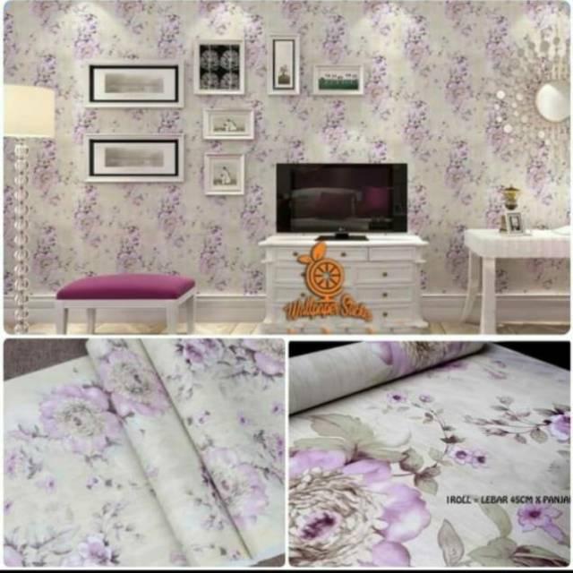 Wallpaper Dinding Ruangan Motif Bunga Ungu Bagua Cantik Elegan Murah Terlaris Shopee Indonesia
