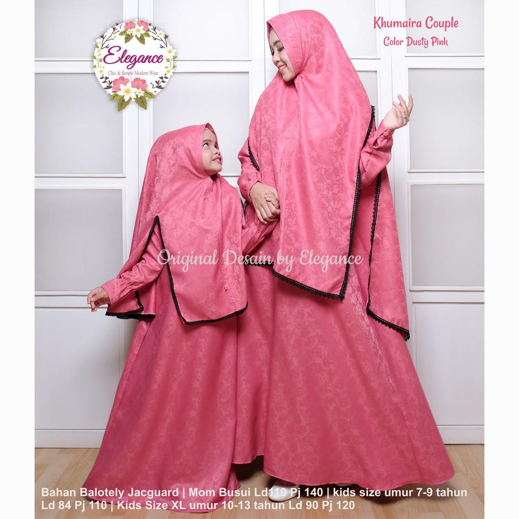 Set Gamis Couple Ibu Anak Abu-abu Kombinasi Dusty Pink Murah Terbaru   Shopee Indonesia