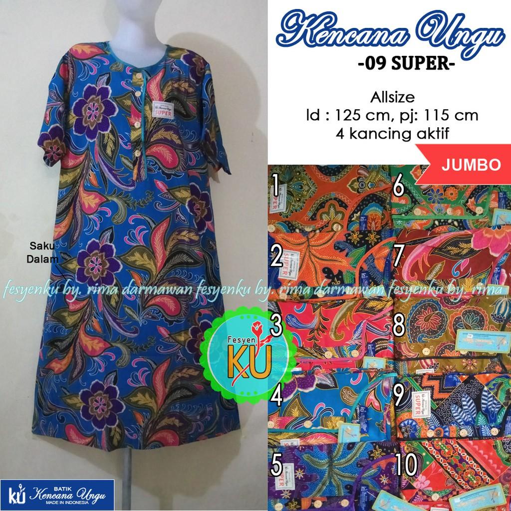Daster Batik Kencana Ungu L3 Super Asli Label Biru 4 Kancing Lengan Pendek  Jumbo  3ec1060066