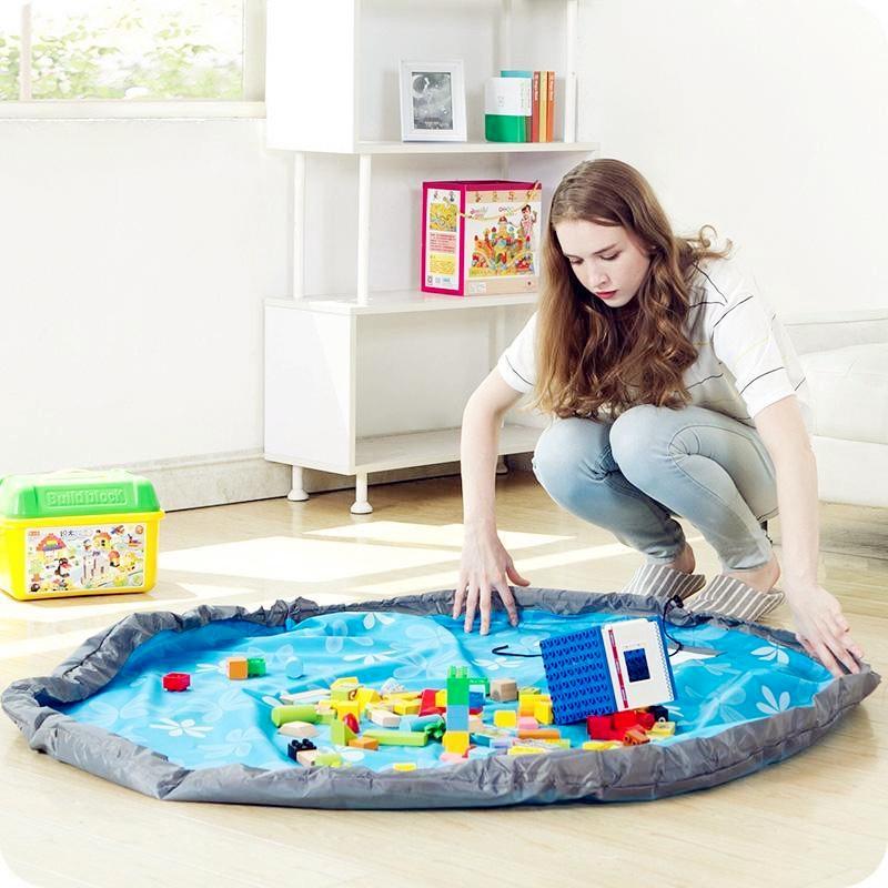 New Portable Kids Play Mat /& Toy Organiser