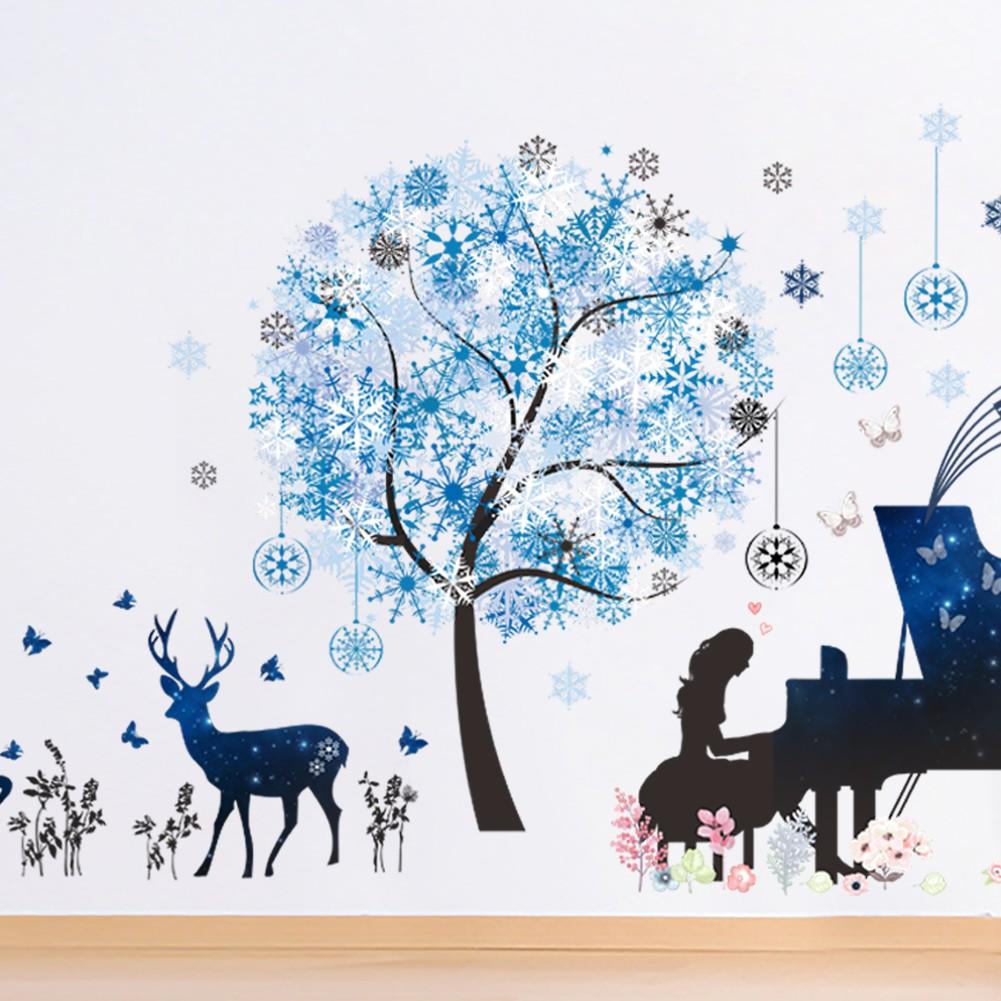 Stiker Dinding Dengan Bahan Mudah Dilepas Gambar Gadis Dan Pohon Natal Untuk Dekorasi Rumah