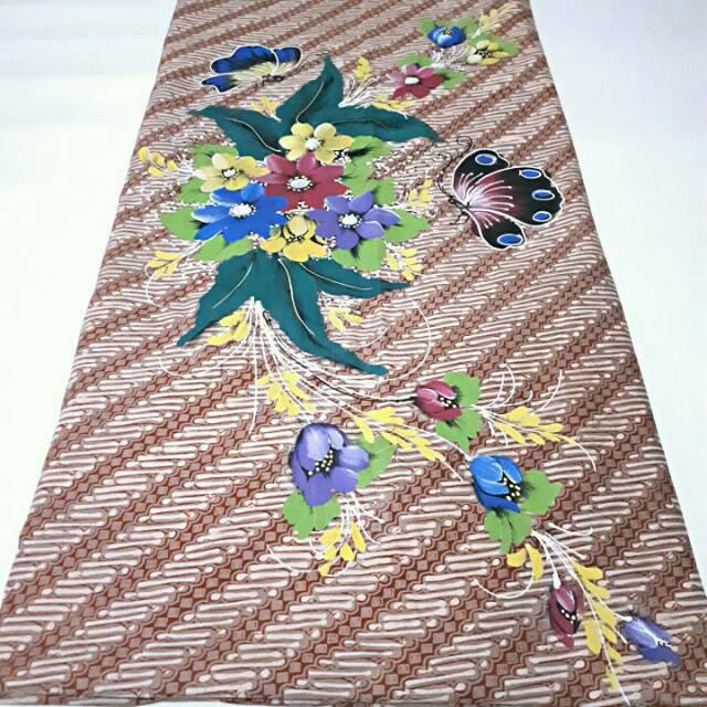 Kain Batik Cap Parang Rusak Lukis Bunga
