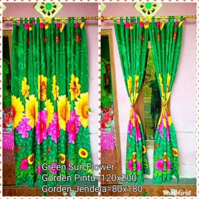 PROMO Korden Pintu Jendela Mawar Hijau Kupu kupu Murah Ukuran 120x200 - Green Rose | Shopee