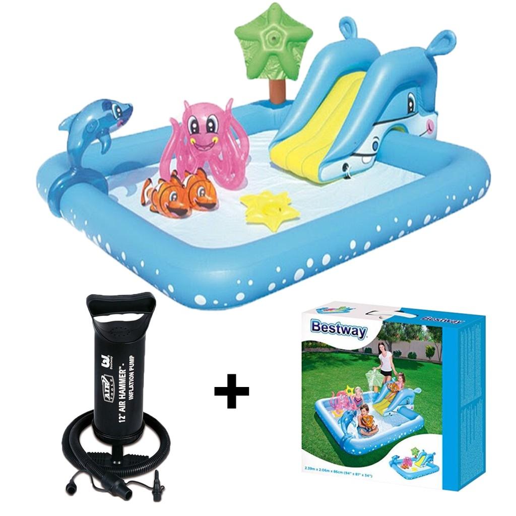 Paket Bestway Fantastic Aquarium Play Pool Pompa Kolam Renang Perosotan Anak Shopee Indonesia