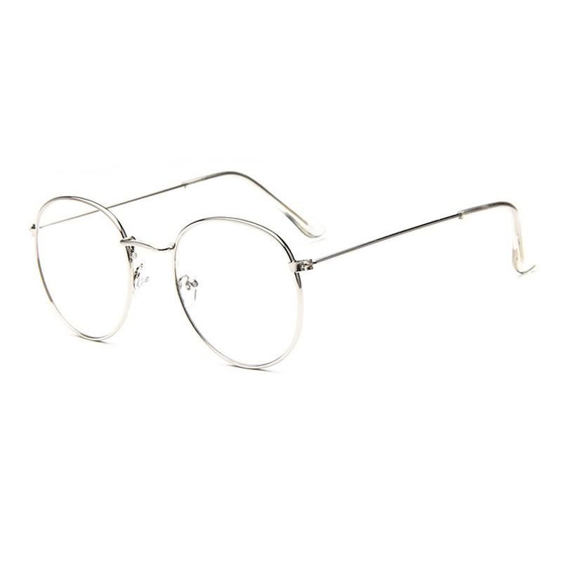 Kacamata   Silver   Pria dan Wanita - Design Korea - OVAL FREE SARUNG  3f48036409