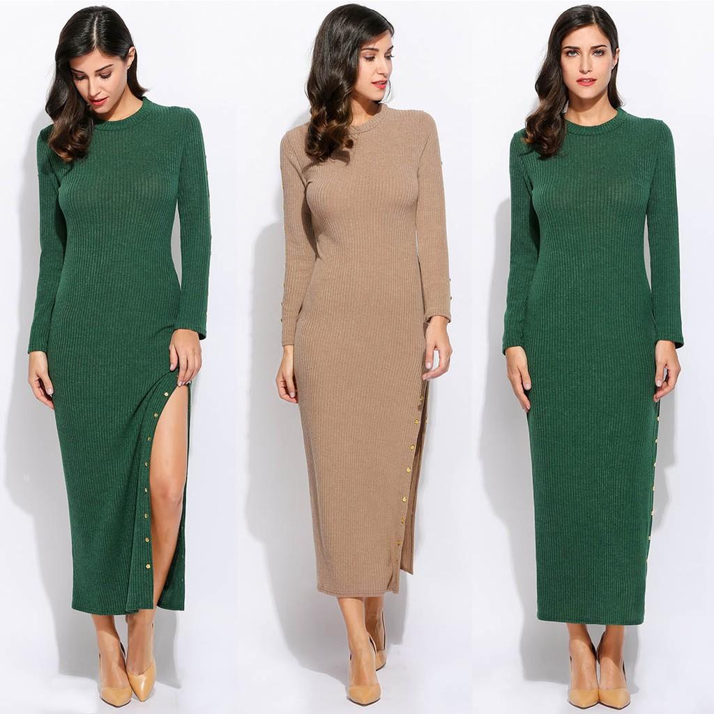 Fashion Wanita Dress Rajut Maxi Round Neck Lengan Panjang Belahan Ada Kaos Pendek Motif Great Things Navy Xl Samping Aksen Kancing Warna Polos Shopee Indonesia
