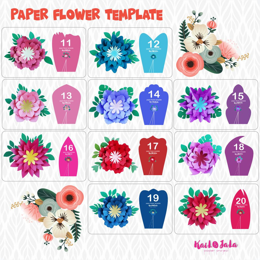 Template Pola Paper Flower Shopee Indonesia