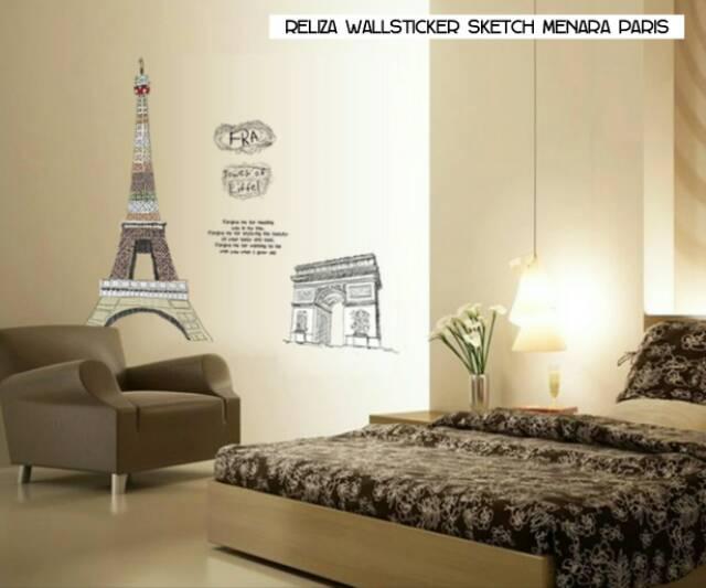 Wallpaper Dinding Kamar Gambar Menara Eiffel  reliza wall sticker stiker dinding sketch menara paris eiffel fra ay1930