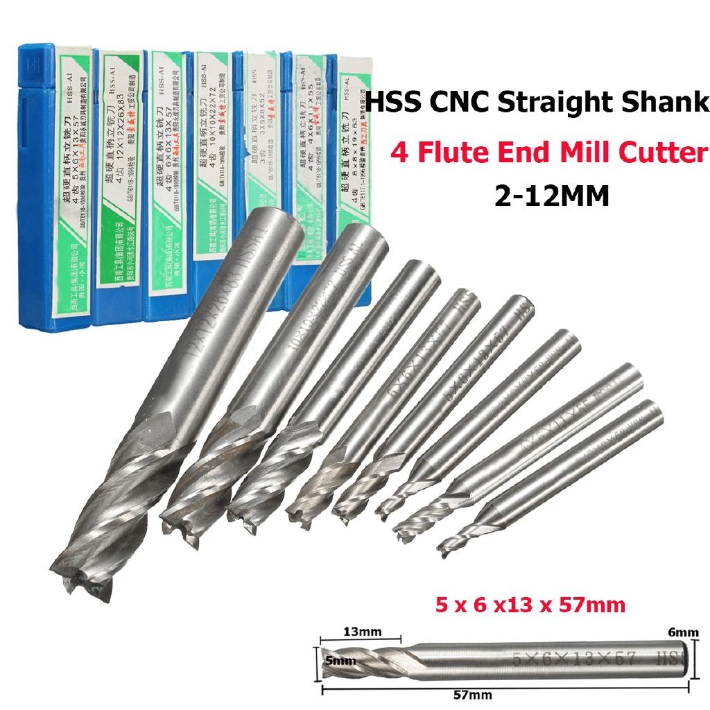 """10x Carbide CNC 4 Flute Spiral Bit End Mill Cutter 1//8/"""" Shank 15mm Blade Silver"""