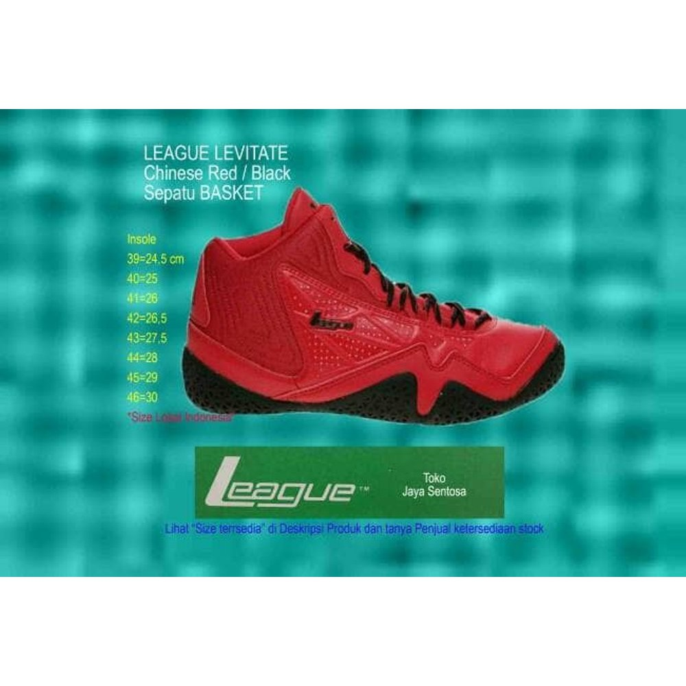 Sepatu Basket Terbaru Sepatu Basket LEAGUE LEVITATE Black Red - Merah- 44  4db1528a80