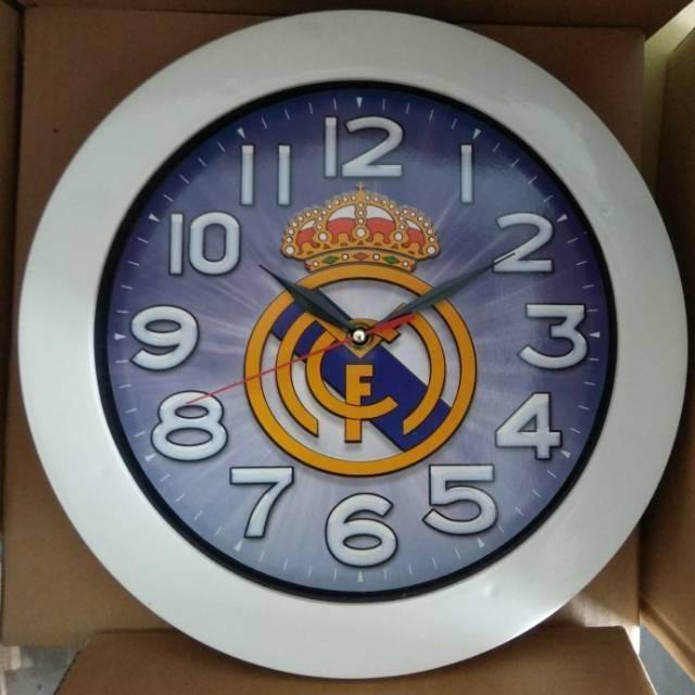 Jam Dinding Klub Bola Real Madrid Barcelona Chelsea MU Manchester City Munchen Persib Persija | Shopee