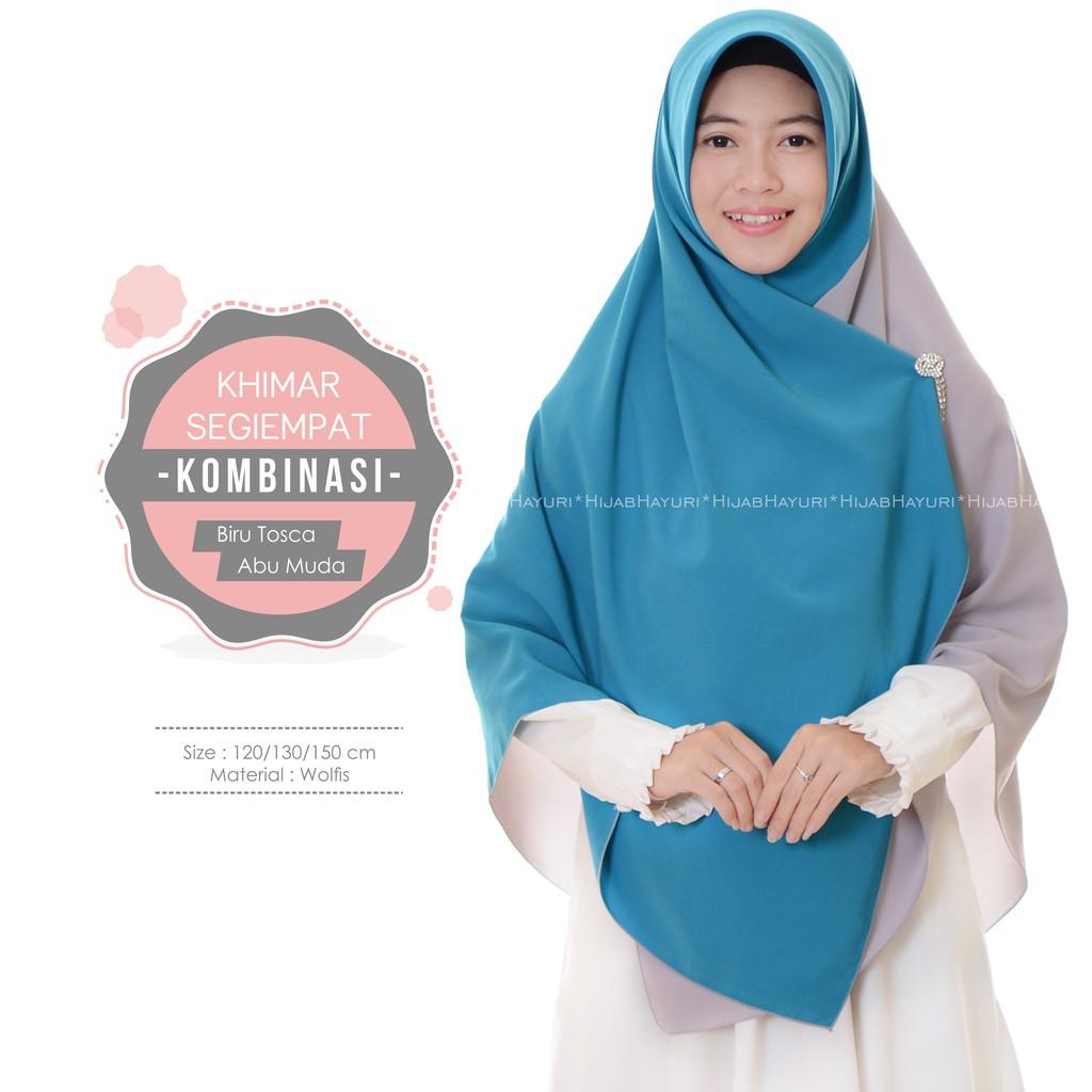 Hijab Hayuri Khimar Segiempat Kombinasi Biru Tosca Abu Muda