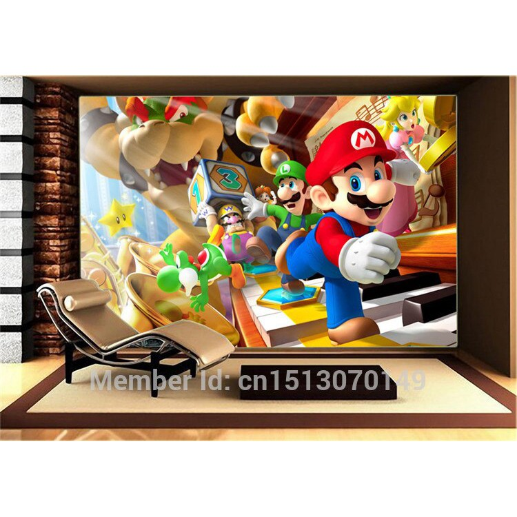 Custom Large Photo Wallpaper Super Mario Wall Mural Classic Games Wallpaper Room Decor Wall Art Shopee Indonesia