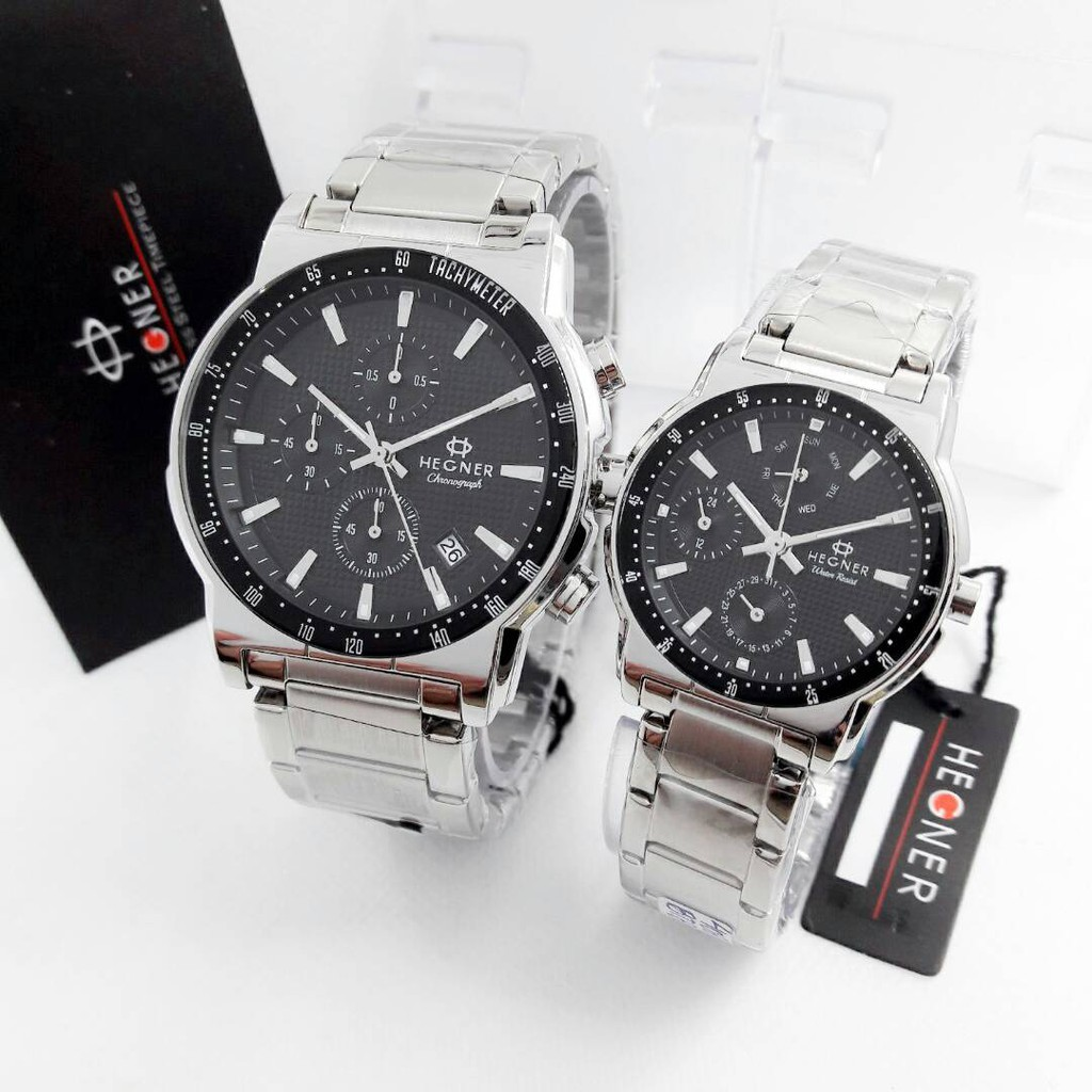Hegner Jam Tangan Couple Formal 407 Black Silver - Full Stainless -  Chronograph - Quartz - Original  3680143492