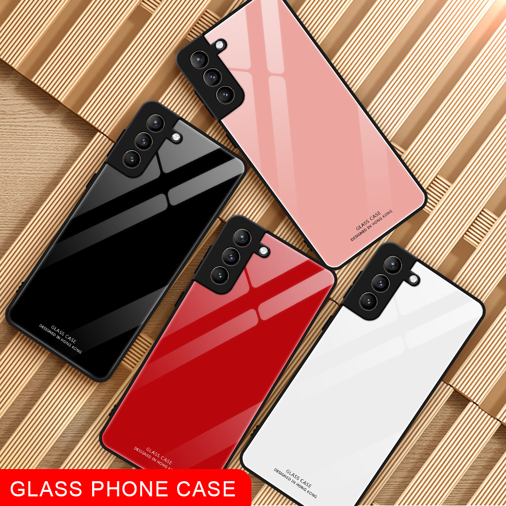 Samsung Galaxy S21 Plus S21 Ultra F62 M62 A52 A12 A42 A72 A32 A02 A02S Case Glossy Hard Tempered Glass + TPU Frame Phone Case Cover