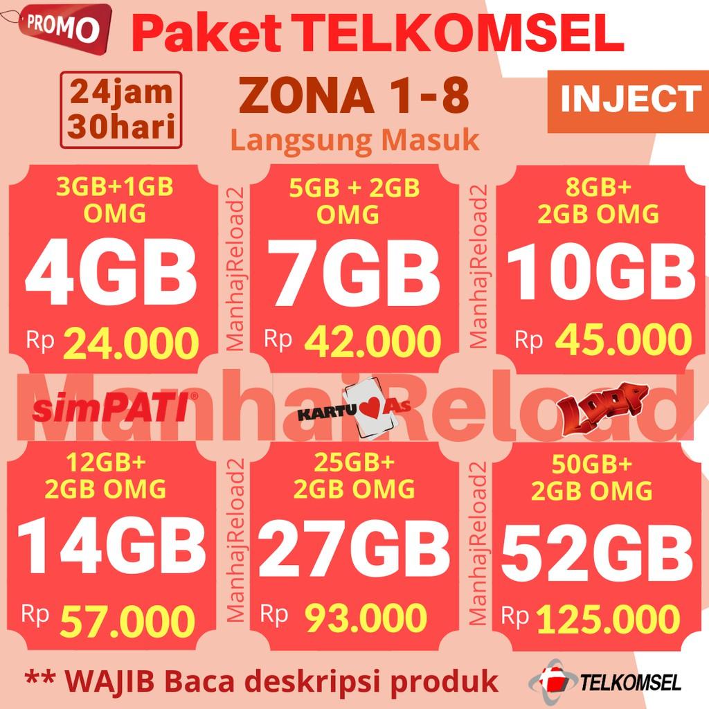 Termurah Injek Kuota Isi Ulang Telkomsel Simpati As Loop Zona 1 8 24jam 30hari Sesuai Zona Shopee Indonesia