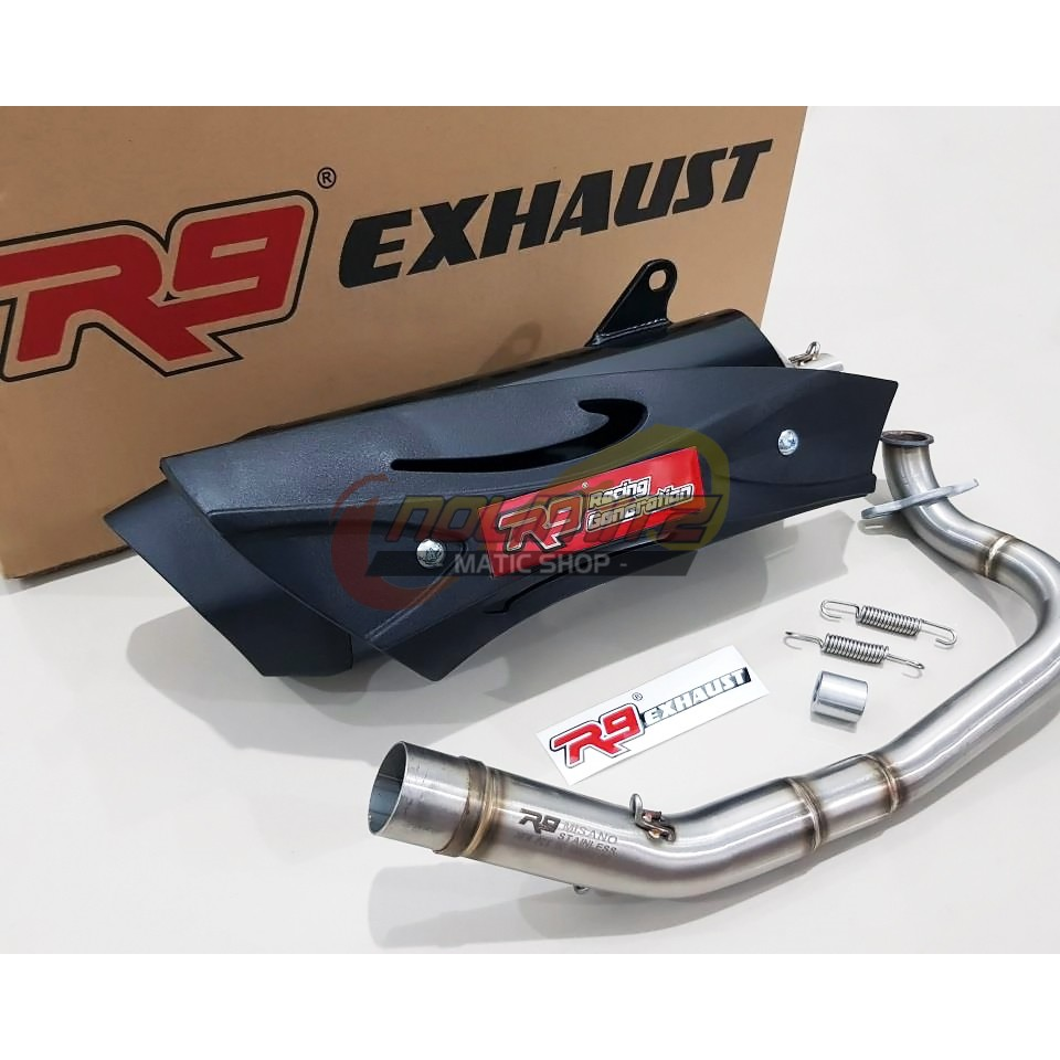 Knalpot R9 Full System New Mugello Black Suplier Resmi Assen Honda Blade Shopee Indonesia